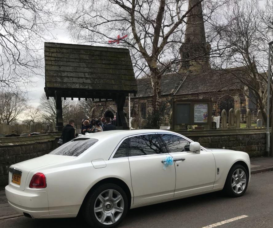Rolls Royce Ghost wedding car hire in Aughton, Liverpool