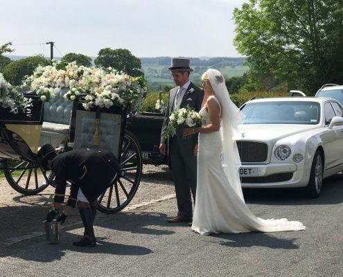 Horse carriage and Bentley Mulsanne Wedding Car hire in Ripon, Harrogate